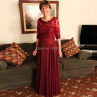 YNQNFS MD54 Elegant Wine Red Chiffon Wedding Party Dress Mother of the Bride/Groom Dresses Outfits With 1/2 Sleeves