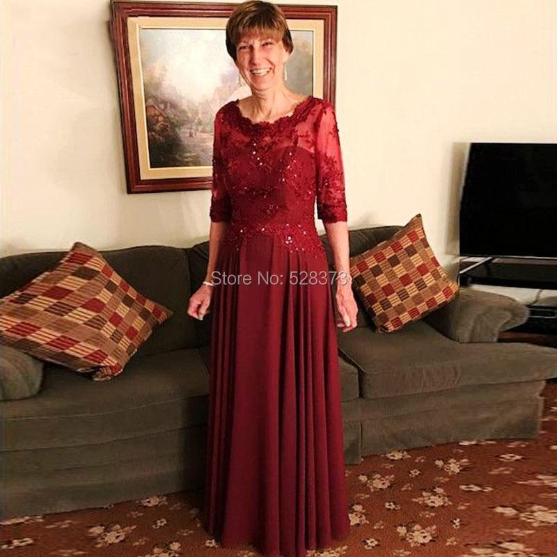 YNQNFS MD54 robe de mariée élégante en mousseline de soie rouge vin mère de la mariée/marié robes tenues avec 1/2 manches