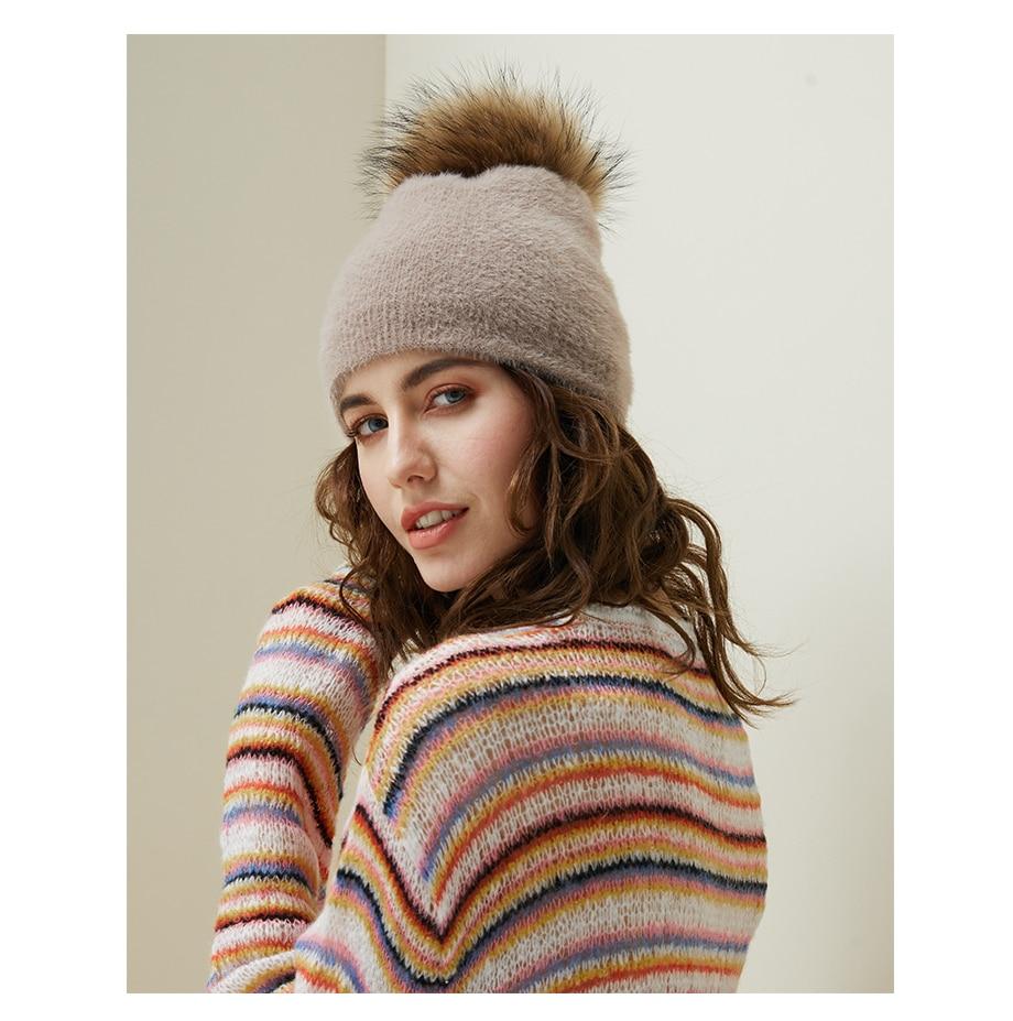 Hat Female Raccoon Hair Ball Beanies Winter Warm Wool Bonnet Pompom Beanies 2018 Fashion Russia Knitted Skullies Cap For Girls (9)