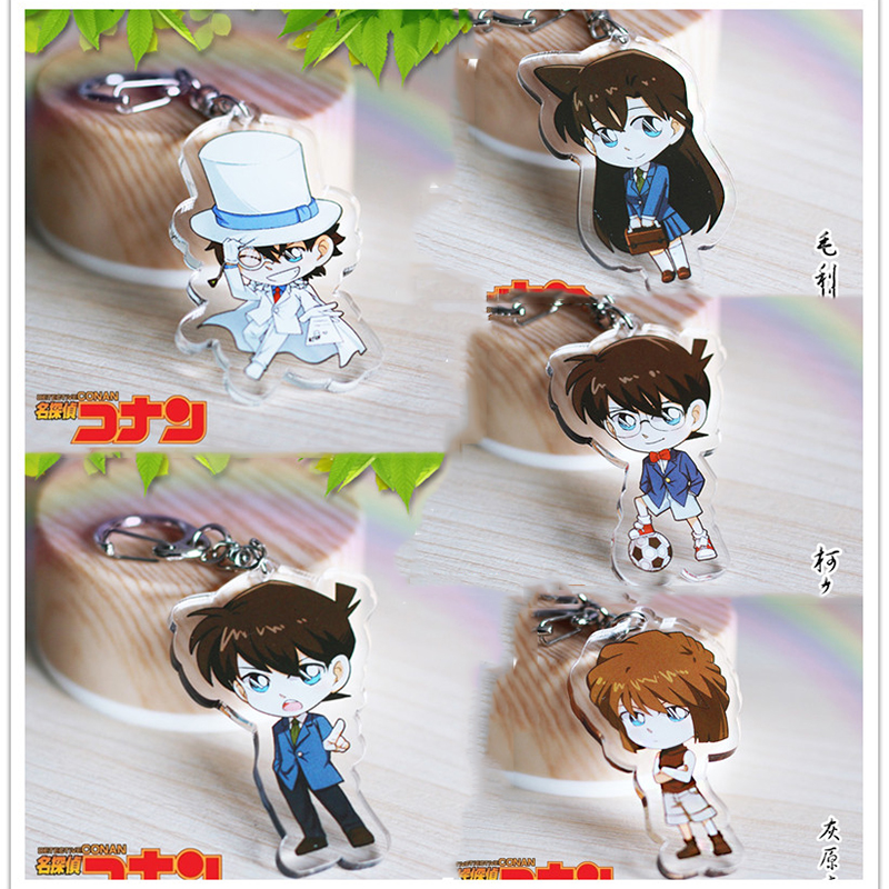 Anime Keychain Japan Anime Cartoon Detective Conan Shinichi Mouri Ran Ai Pendant Kiddo Keychain Keyrings kulcstarto Charms