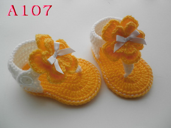 Best selling! Crochet Baby shoes, Baby Orange bow Flip Flops, Crochet Baby Shoes, Sizes 0-12 Months