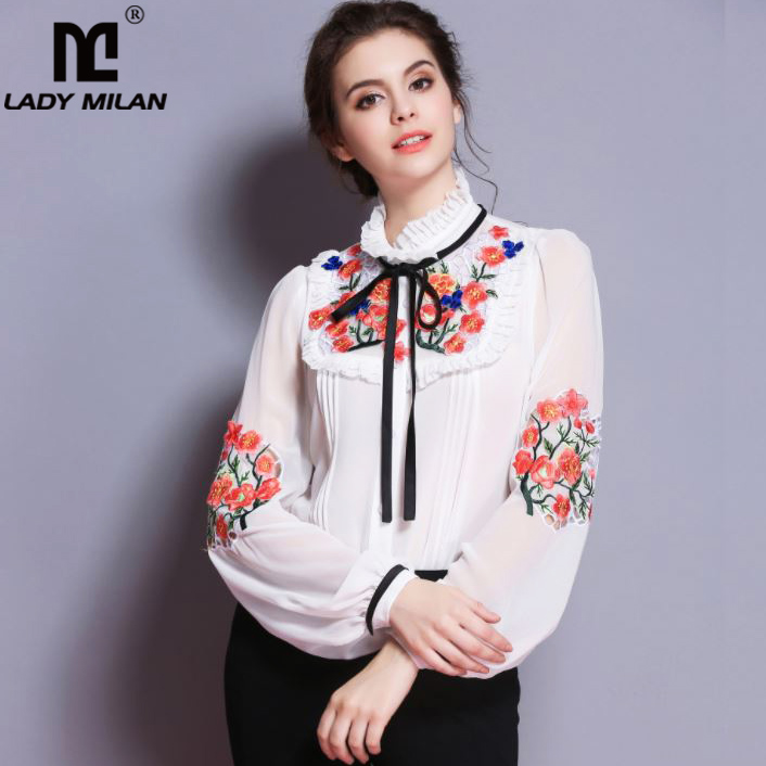 Lady Milan New Arrival 2019 Spring Women s Ruffles Embroidery Floral Long Sleeves Elegant Fashion Designer