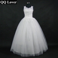 QQ Lover Korean Lace Up Ball Gown Quality Wedding Dress 2017 Alibaba Customized Plus Size Vestido De Novia Bridal Dress