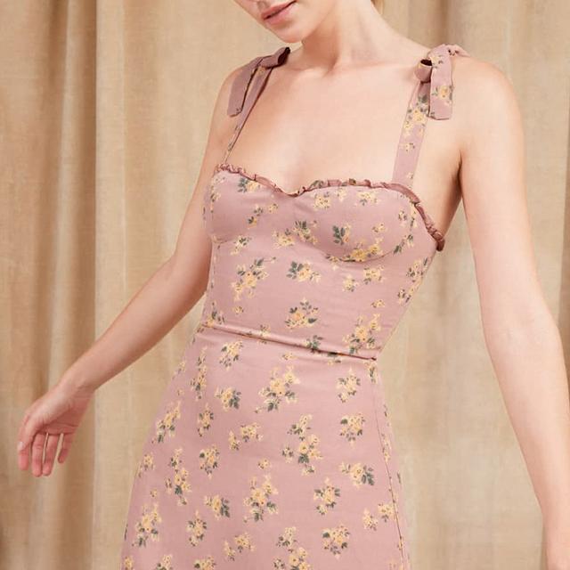 Floral print pink summer mini dress