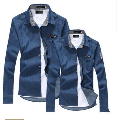 Los hombres de mezclilla camisa de los hombres camisa de manga larga chaqueta de mezclilla de moda de los hombres slim fit hombres chaqueta de los hombres ropa de Jeans Chaqueta Abrigo