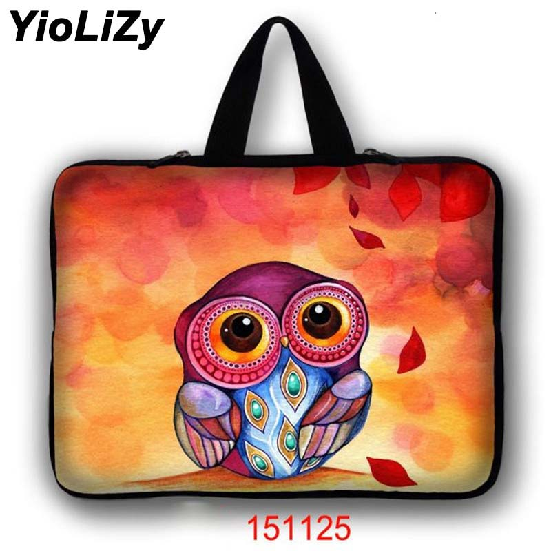 Owl print men Laptop bag 7 10 12 13 13.3 14 15 15.6 17 17.3 inch women notebook sleeve smart tablet bag cover handbag LB-151125