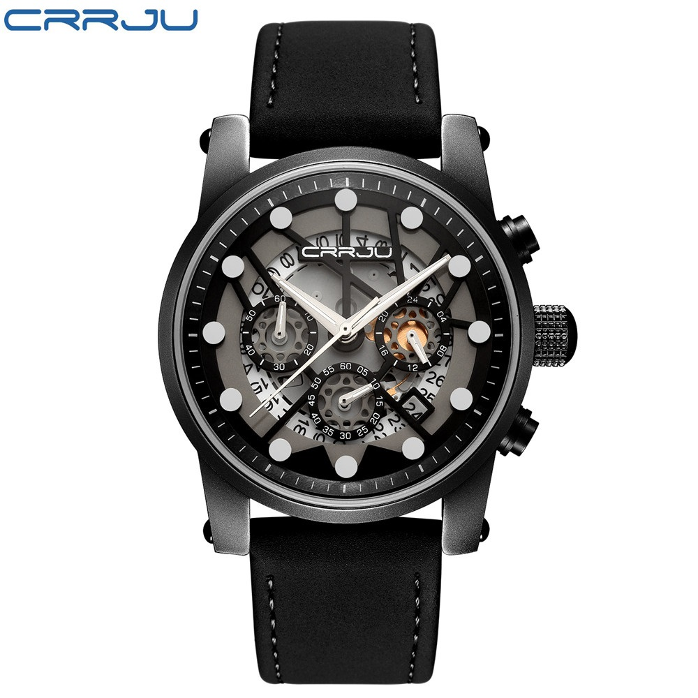 CRRJU New Fashion Chronograph Genuine Leather Sport Mens Watches Top Brand Luxury Military Quartz Watch Clock Relogio Masculino  new crrju mens watches top brand luxury quartz watch men waterproof sport military watches men leather relogio masculino 2017