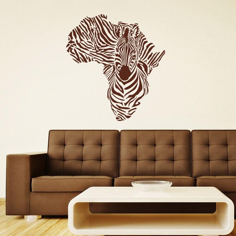Wall Tattoo Living Room Africa Zebra continents Nursery Hallway Hall uss057