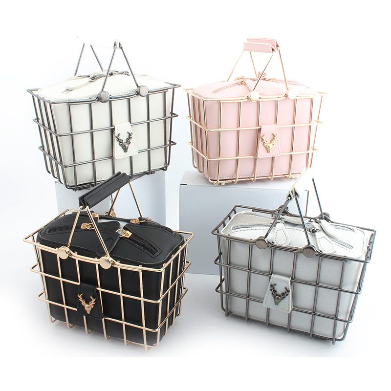 Fashion Women Handbags & Crossbody Bags Evening Clutch Bag Cage Metal Hollow Out basket Banquet Party Totes Wedding Beach Frame