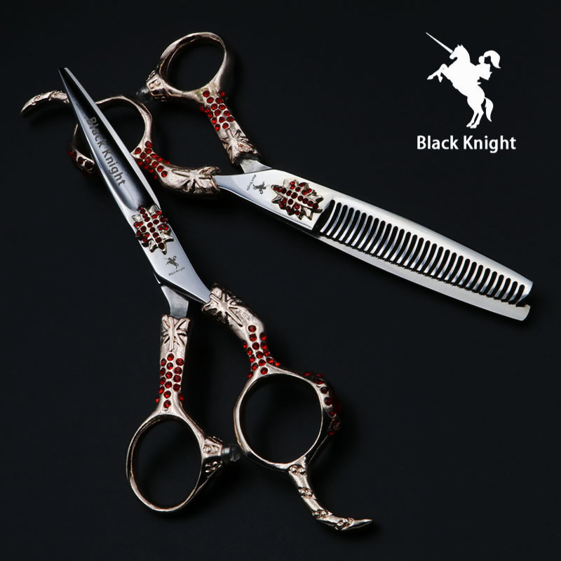 Black Knight 6 inch Professional Hairdressing Scissors set Beauty Salon Cutting+Thinning Barber Shears Modeling tools 6 5 5 inch cutting thinning styling tool hair scissors stainless steel salon hairdressing shears regular flat teeth blades