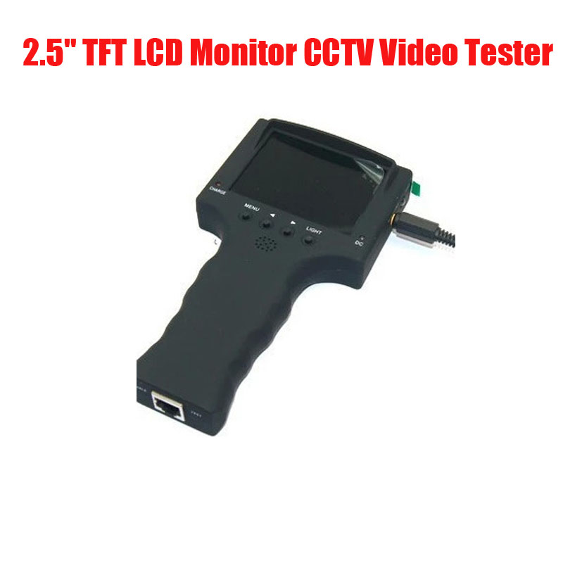 Free Shipping 2.5 TFT LCD Monitor CCTV Video Tester Project Installation Mate Security Camera Tester 12V Output