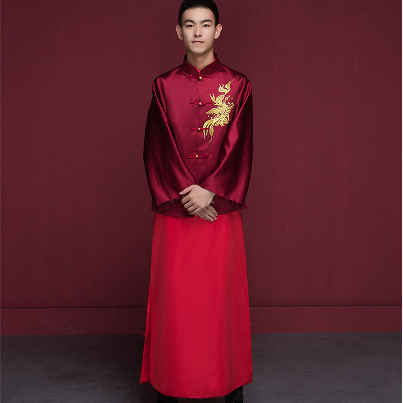 Vin rouge traditionnel chinois marié robe Costume de mariage hommes Cheongsam manches longues Tang Costume Mandarin veste Dragon Phoenix