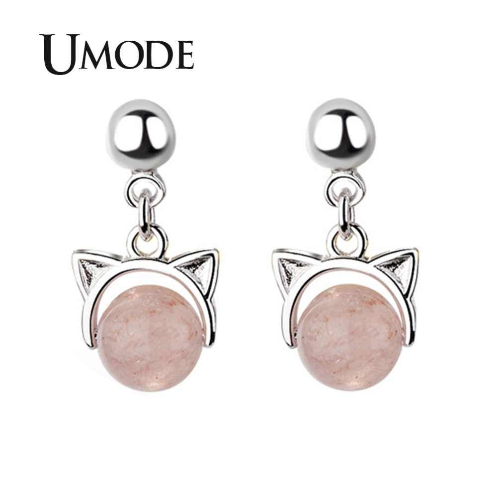 UMODE Korean Cat Ear Pink Strawberry Crystal Drop Earrings Luxury Women Accessories Fashion Jewelry pendientes mujer moda UE0459