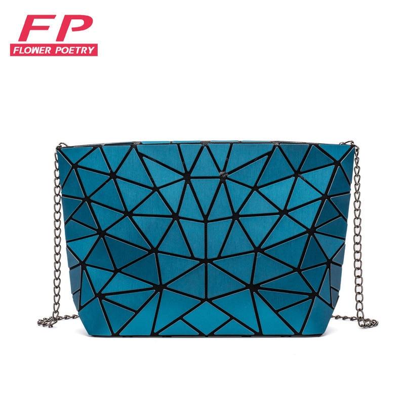 Mode femmes chaîne sac à bandoulière sac lumineux Bao sac pour fille géométrie Messenger sacs plaine pliage sacs à bandoulière embrayage bolso