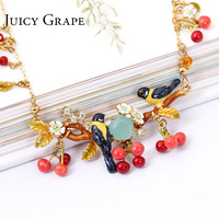 2017 New Arrivals Oriole Bird Red Cherry Birdie Gold Clavicle Chain Popular Maxi Colar Necklace Choker Women Crystal Jewelry