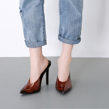 2019 Newest Spring Summer Mules Pumps Shoes For Women Slip On Slippers SlingBacks Heels Brown Lodging sandals