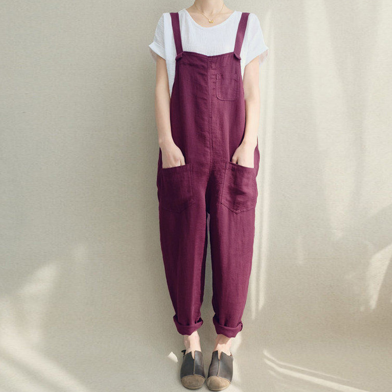 2020 ZANZEA Women Strappy Bib Overalls Pockets Summer Cotton Linen Long Jumpsuits Casual Solid Dungarees Loose Rompers Plus Size
