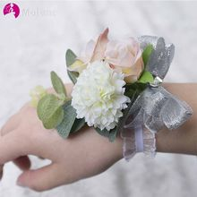 MOLANS Decorative Stimulation Fabric Flower for Bridesmaids Corsages Bracelet Plastic Leaf Silver Silk Bow with Elastic Bands(China)