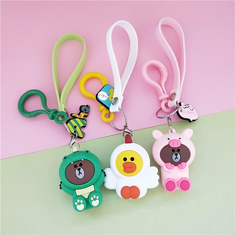 New Cartoon Brown Bear Keychain Cute Dinosaur Frog Pig Brown Bear Girl Keychain Doll Keyrings Kids Toy Key Chain Women Keyring