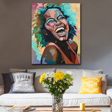 DIY colorings pictures by numbers with colors Black girl laughing picture drawing painting  framed Home