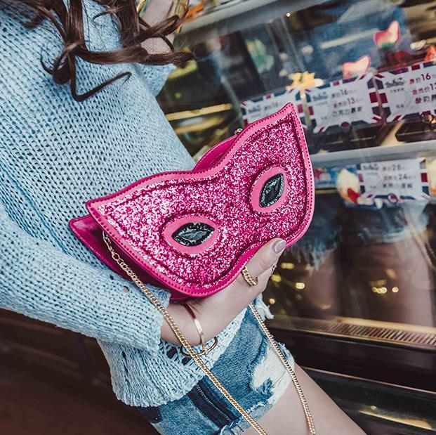 Новинка Очки маска сумка мини Сумки через плечо для Для женщин Bling блестками забавные клатч Сумки Для женщин Evenig партия кошелек сумка