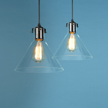 Retro Industrial Glass Funnel Pendant Light Vintage Clear Glass Pendant Lamp Home Indoor Dining Room Antique Pendant Light 500ml clear glass separatory borosilicate funnel with ptfe stopcock pear shape funnel chemistry lab supplies