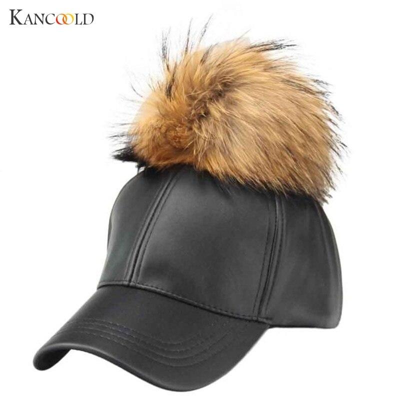 2017 Fashion Design Women's Hat PU Leather Pom Pom   Cap   Leather Hat With Fur Ball Female Visor   Baseball     Cap   Women Pom Pom De302