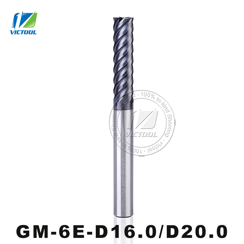 GM-6E-D16.0/D20.0 Cemented Carbide High Speed 6-Flute Flattened End Mills Straight Shank Milling Tools Machining Stainless Steel hmx 4e d14 0 high speed cutting and try cutting 4 flute flattened end mills milling cutter end mills straight shank tool