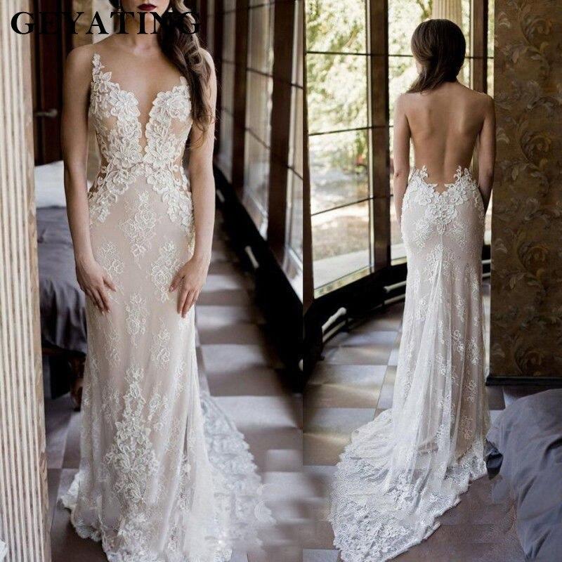 Bohemian Lace Mermaid Wedding Dresses Appliqued Sheer Neck Beach Bridal Gowns
