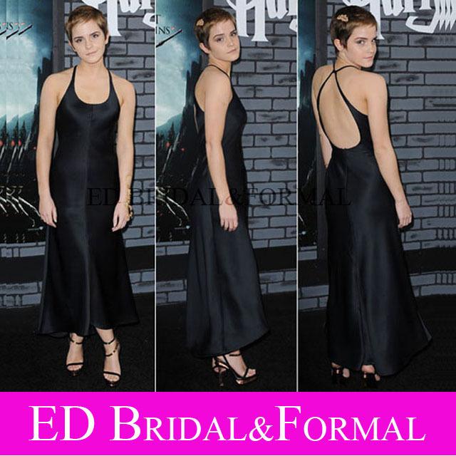 Emma Watson vestido de satén negro cabestro vestido de noche estreno de Harry Potter 1