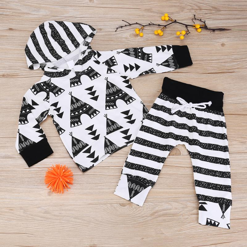 2pcs/set Newborn Outfits Set Boys Girl Printed Hooded Sweatshirt Long Sleeve T-shirt Tops+Striped Pants Autumn Baby Clothing Set