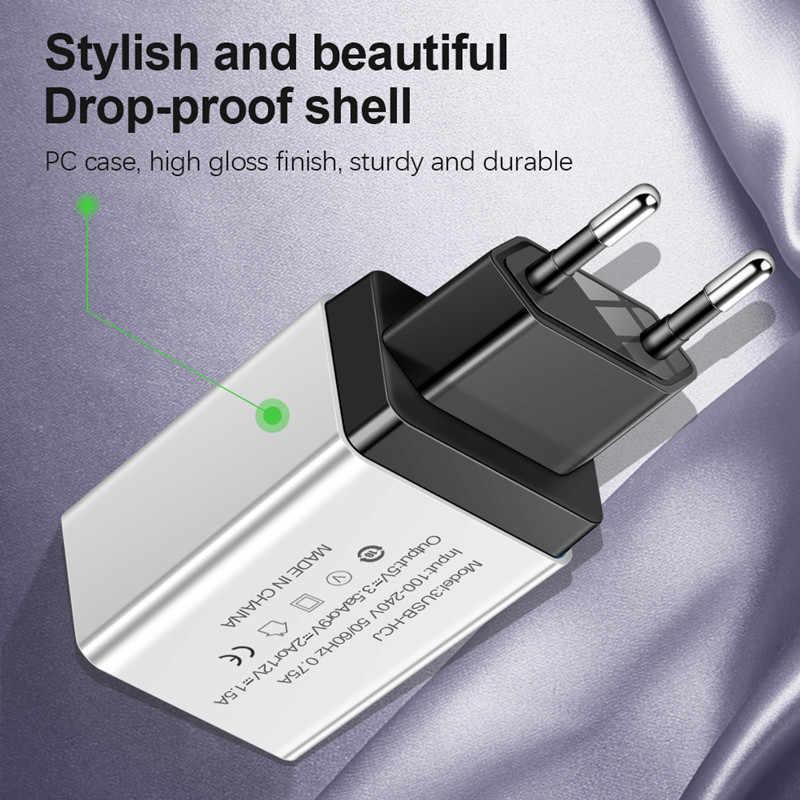 شاحن يو اس بي 3 منافذ 5 V/2A السفر USB مهايئ طاقة حائطي الاتحاد الأوروبي/الولايات المتحدة شاحن سريع شحن ل فون هواوي Xiaomi USB شواحن الهاتف