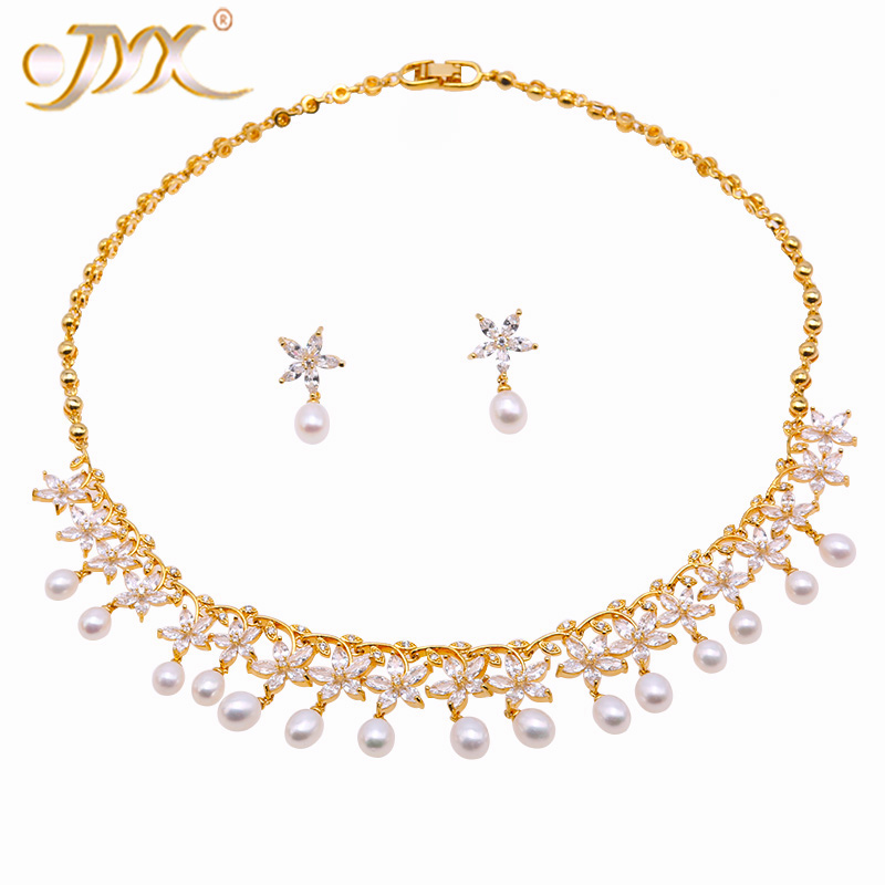 JYX perle ensemble de bijoux de mariée 6.5-7.5mm blanc plat rond collier de perles d'eau douce et boucles d'oreilles ensemble 17.5