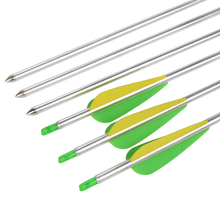 """12X 1516 Aluminum Arrow 1.75"""" Plastic Vane Bullet Fixed Point 7075 T6 Youth Recurve Compound Archery Bow Shooting Free Shipping"""