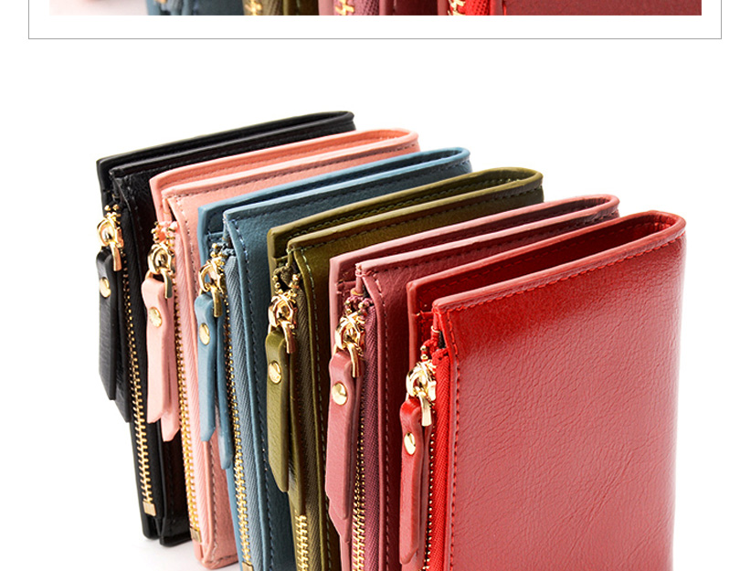 Women Wallet Small Purse Female Wallet Credit card slots zipper coin pocket Leather Wallet lovely pink one size 17