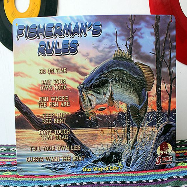 Fishing Decor Fisherman S Rules Metal Tin Sign Wall Rustic Plaque Art Fish Decoration