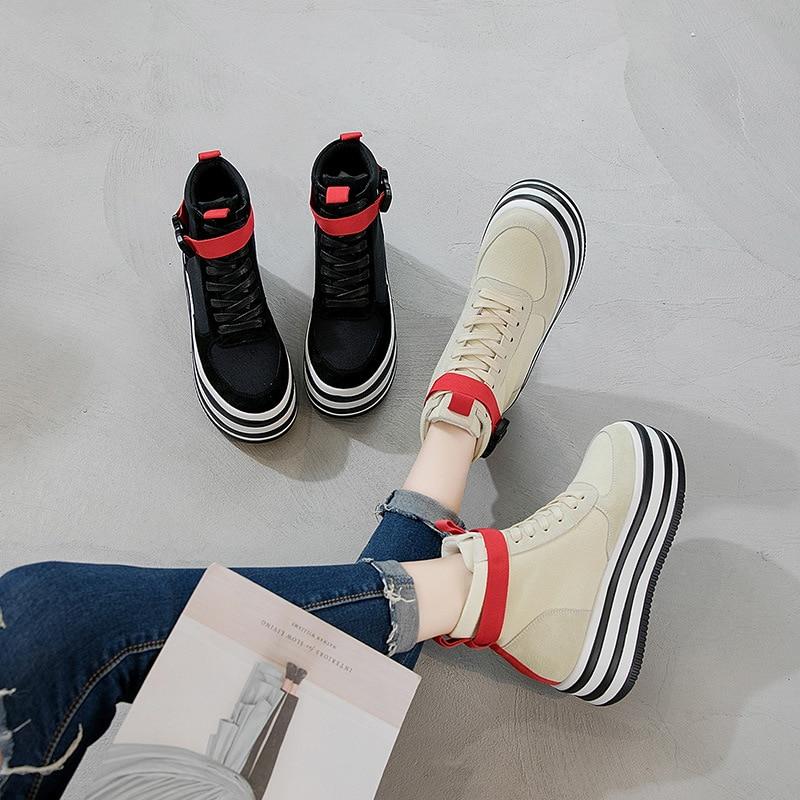 Nouvelle Haute ChaussuresBeige Plate Femmes forme 2018 Casual noir Cuir En Chaussures top De Toile Sauvage Dentelle PXwTOkZiu