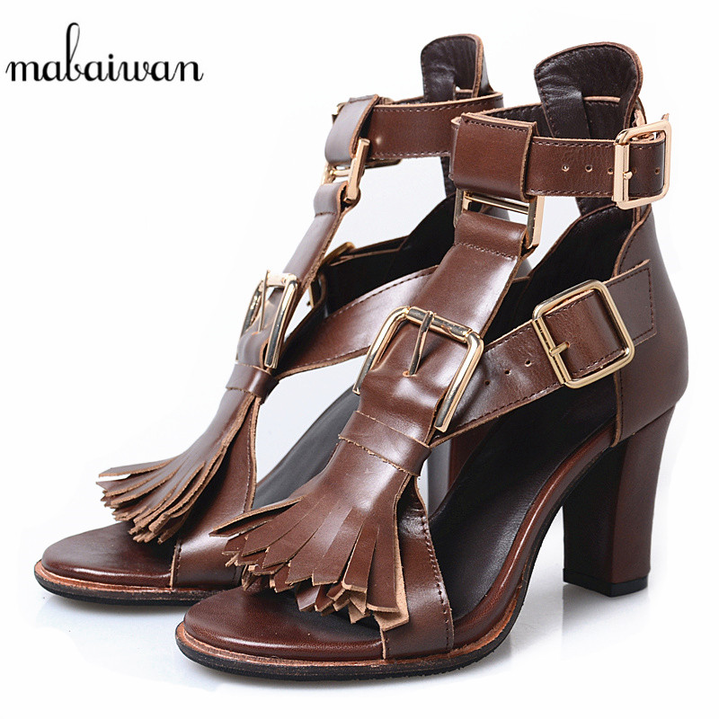 Mabaiwan 2018 Summer Sandals For Women Slippers Chunky High Heels Genuine Leather Peep Toe Dress Casual Shoes Women Tassel PumpsMabaiwan 2018 Summer Sandals For Women Slippers Chunky High Heels Genuine Leather Peep Toe Dress Casual Shoes Women Tassel Pumps