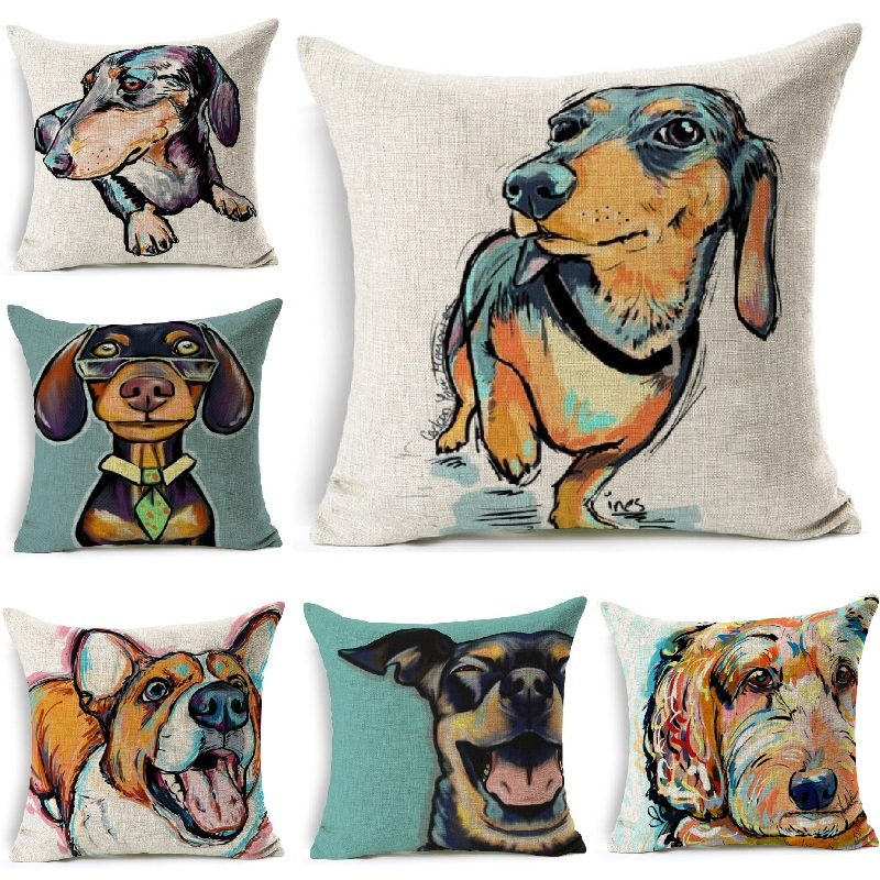 Home Textile Miracille Square Dachshund Cushion Cover Dog Printing Linen Throw Pillows For Car Sofa Home Decorative Pillowcase Decoration