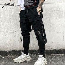 Новые горячие боковые карманы узкие брюки мужские хип-хоп лоскутные брюки карго рваные спортивные брюки джоггеры брюки мужские модные длинные брюки