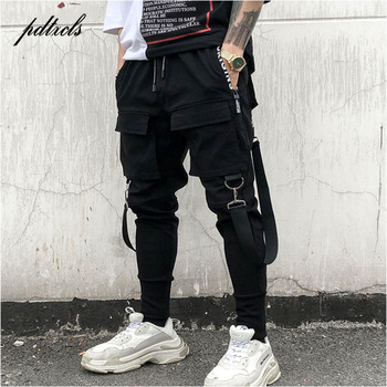 a81ce9ed 49Hot боковые карманы мужские зауженные брюки хип-хоп лоскутные брюки карго  рваные спортивные брюки джоггеры брюки мужские модные длинные бр.