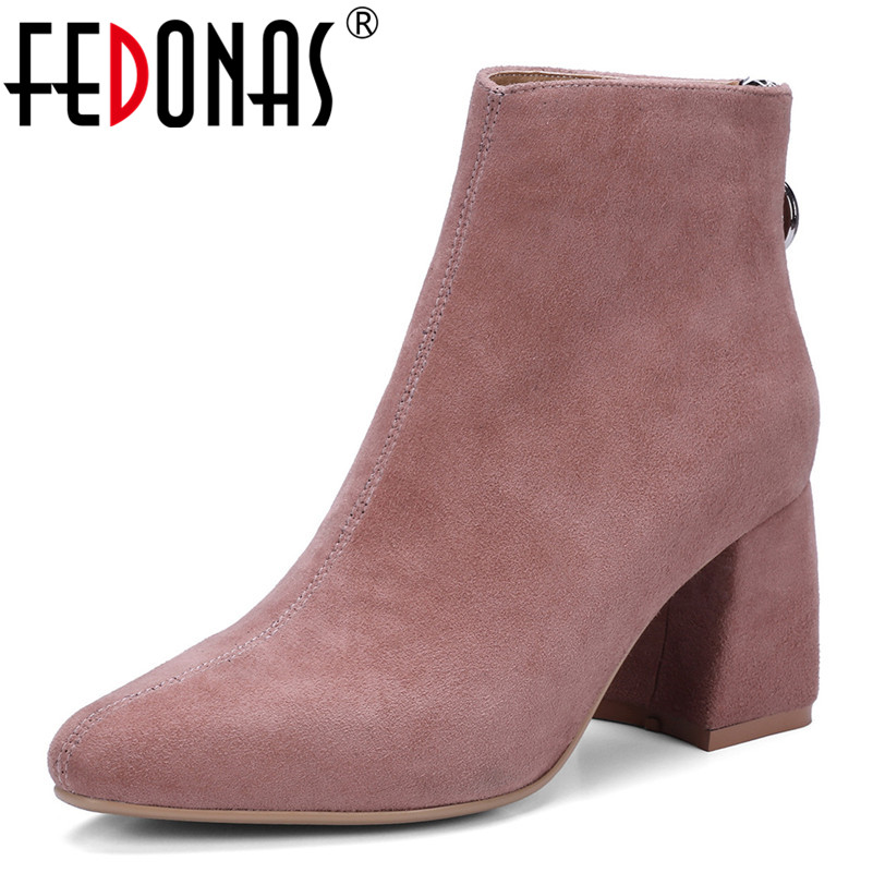 FEDONAS New Retro Women High Heels Martin Shoes Woman Suede Leather Autumn Winter Short Boots Female Warm Winter Shoes Woman fedonas new warm autumn winter snow shoes woman high heels zipper short martin boots retro punk motorcycle boots 2019 new shoes