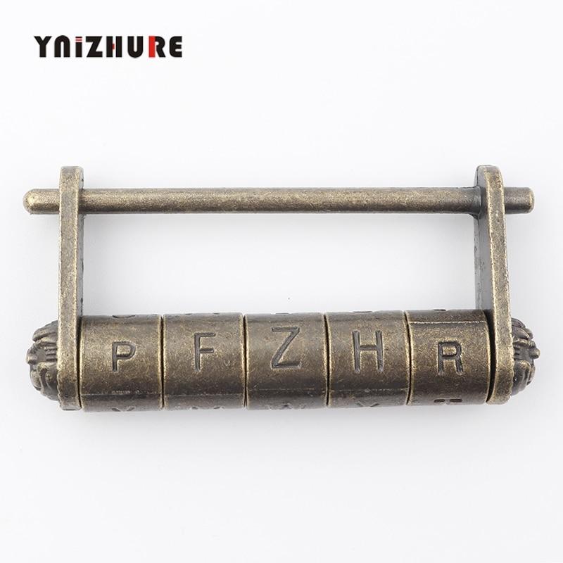 Zinc Alloy Antique Bronze Retro Combination Lock 5 Letter Password Lock Jewelry Box Padlock For Wooden Suitcase Drawer