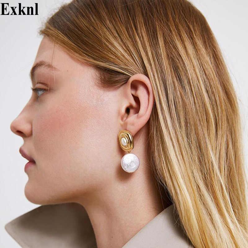 Exknl Vintage Ethnic Drop Earrings Women Boho Statement Gold Color Pearl Bohemian Dangle Earrings Fashion Jewelry Earrings 2019