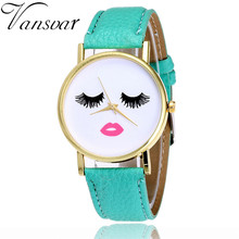 Vansvar Classic Leather-based Quarzt Watches Eyelashes and Lip Watch Informal Style Girls Wrist Watches Relogio Feminino V31