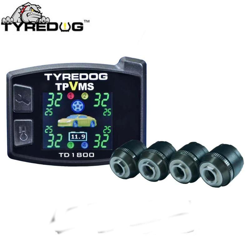 Tyredog Wireless Tyre Pressure Monitoring System TD1800 4 external sensors PSI BAR Car font b TPMS