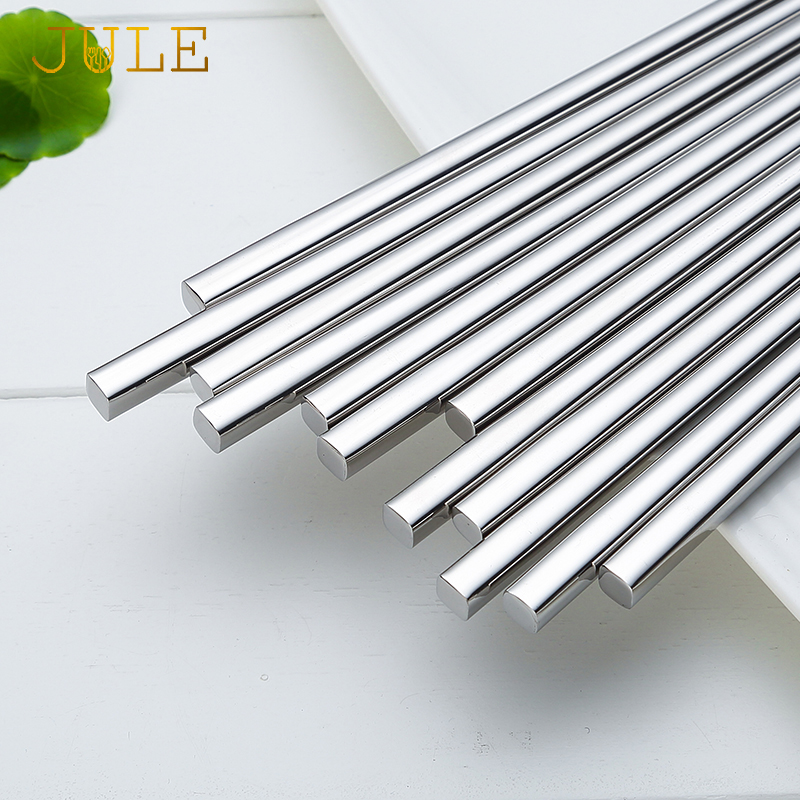 5pairs Sushi Chopsticks 304 stainless steel Food Grade Square Chinese Silver Metal Chopstick Reusable Chop Stick Kitchen Tools image