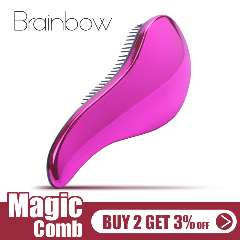 Brainbow 1pc Magic Anti-static Hair Brush Handle Plastic Electroplate Comb Shower Shampoo Massage Comb Salon Hair Styling Tools