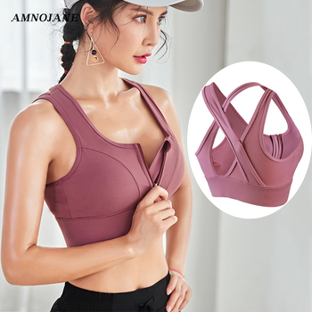 Sport Bra Top Crop Plus Size Running Fitness Yoga Gym Active Wear High Impact Support Athletic Tops Padded Zip Front Sports Bra medium impact hanging neck front design drawstring sports bra in grey