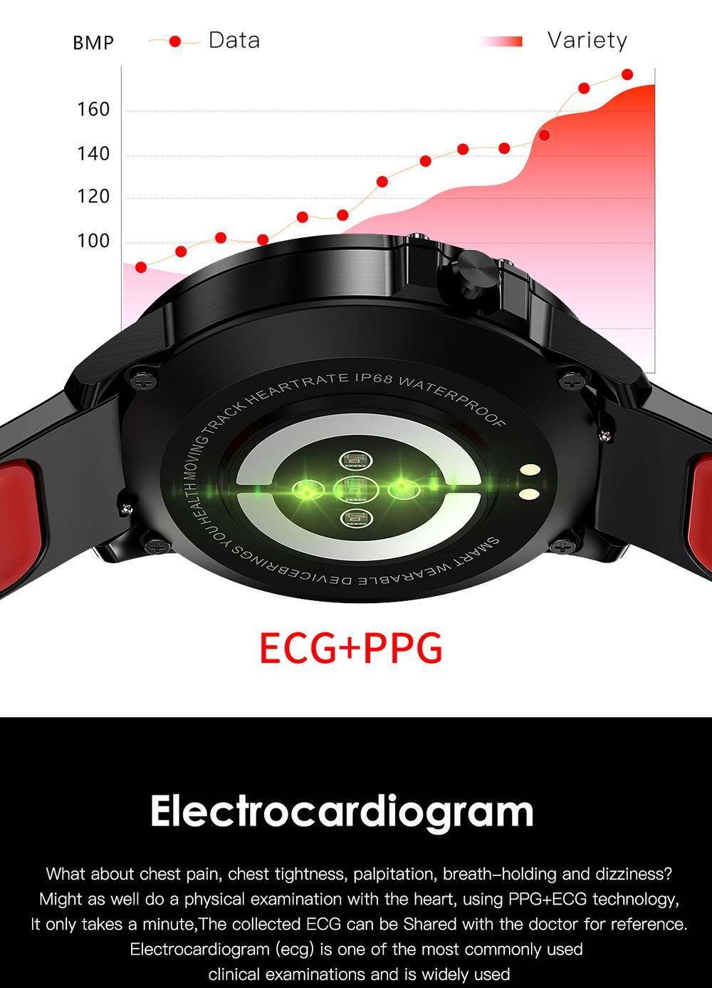 Reloj inteligente L8 IP68 para Hombre, Reloj inteligente resistente al agua con ECG presión arterial mediante PPG, relojes deportivos para fitness 12